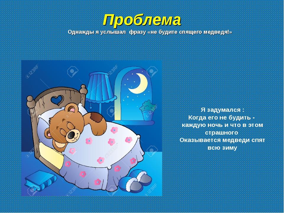 Проблема Однажды я услышал фразу «не будите спящего медведя!» Я задумался : К...