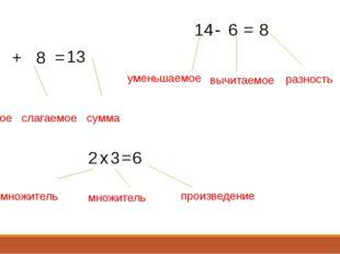 5 8 + = 13 14 - 6 = 8 2 х 3 = 6 слагаемое слагаемое сумма уменьшаемое вычитае