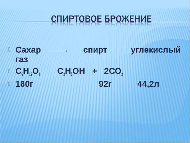 Сахар спирт углекислый газ С6Н12О6 С2Н5ОН + 2СО2 180г 92г 44,2л