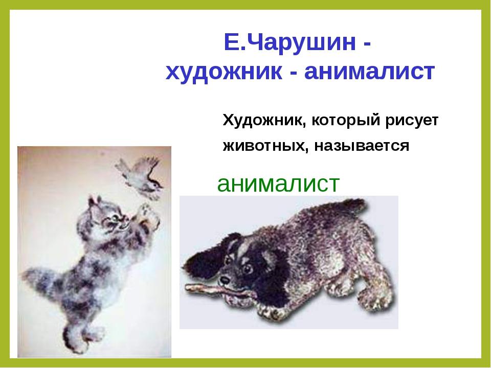 Художник, который рисует животных, называется анималист Е.Чарушин - художник...