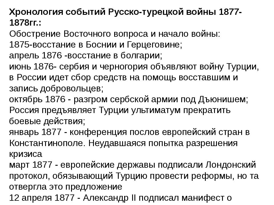 Хронология событий Русско-турецкой войны 1877-1878гг.: Обострение Восточного...