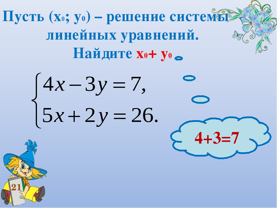 Пусть (х0; у0) – решение системы линейных уравнений. Найдите х0+ у0 21 4+3=7
