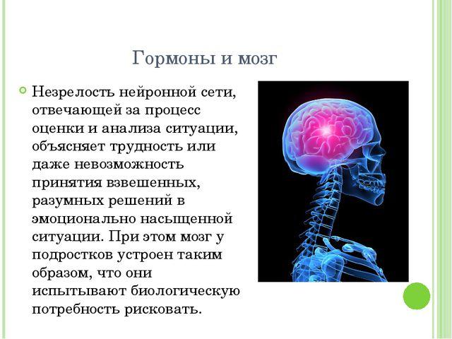 Гормоны и мозг Незрелость нейронной сети, отвечающей за процесс оценки и анал...