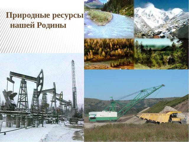 Природные ресурсы нашей Родины