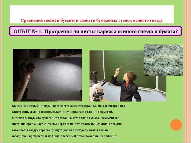 Сравнение свойств бумаги и свойств бумажных стенок осиного гнезда Вывод:На п...