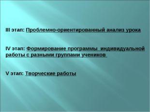 III этап: Проблемно-ориентированный анализ урока IV этап: Формирование програ