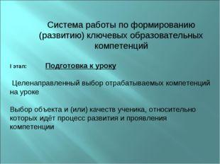 Система работы по формированию (развитию) ключевых образовательных компетенц