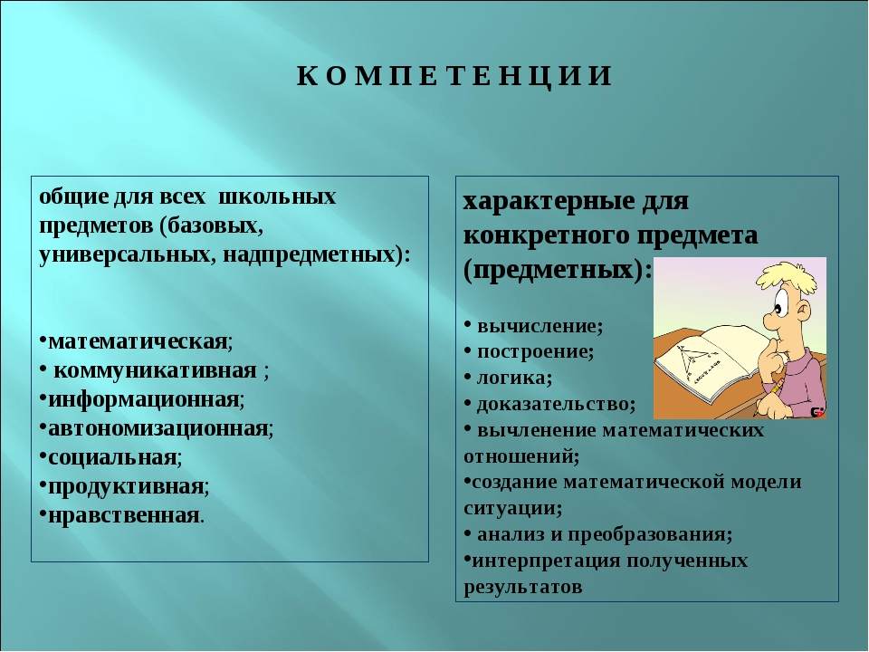 К О М П Е Т Е Н Ц И И общие для всех школьных предметов (базовых, универсал...