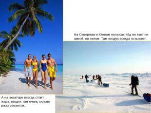 Экватор и полюса На Северном и Южном полюсах лёд не тает ни зимой, ни летом.