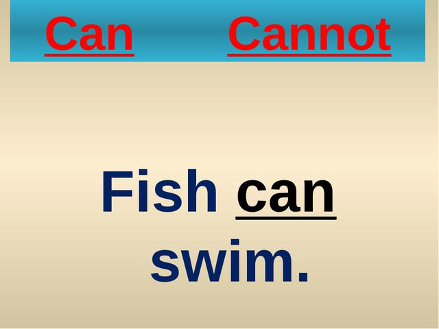 Can Cannot Fish can swim.