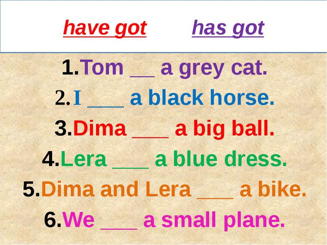 have got has got Tom __ a grey cat. I ___ a black horse. Dima ___ a big ball....
