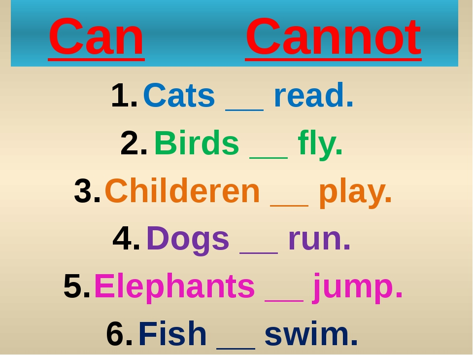 Can Cannot Cats __ read. Birds __ fly. Childeren __ play. Dogs __ run. Elepha...