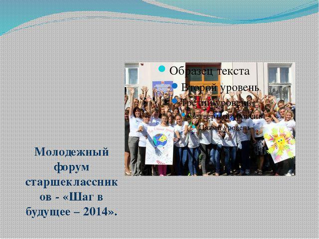 Молодежный форум старшеклассников - «Шаг в будущее – 2014».