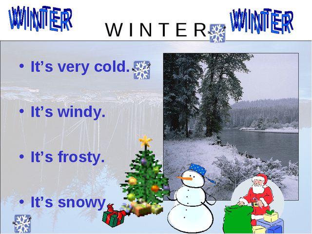 W I N T E R It's very cold. It's windy. It's frosty. It's snowy.