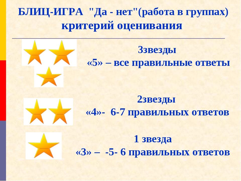 """БЛИЦ-ИГРА """"Да - нет""""(работа в группах) критерий оценивания 3звезды «5» – все..."""