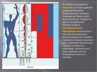 Ле Корбюзье разработал модулор на основе древней традиции Витрувия, Витрувиан