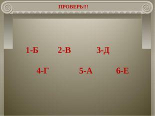 ПРОВЕРЬ!!! 1-Б 2-В 3-Д 4-Г 5-А 6-Е