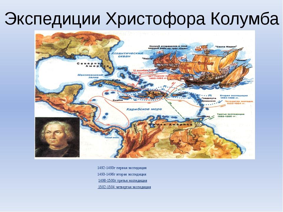 Экспедиции Христофора Колумба 1492-1493г первая экспедиция 1493-1496г вторая...