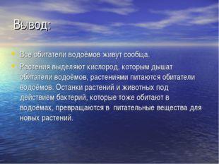 Вывод: Все обитатели водоёмов живут сообща. Растения выделяют кислород, котор
