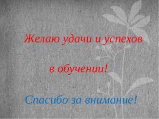 Желаю удачи и успехов в обучении! Спасибо за внимание!