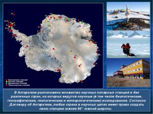 В Антарктике расположено множество научных полярных станций и баз различных с