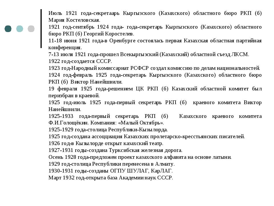 Июль 1921 года-секретаарь Кыргызского (Казахского) областного бюро РКП (б) Ма...