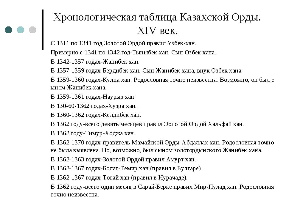 Хронологическая таблица Казахской Орды. ХІV век. С 1311 по 1341 год Золотой О...