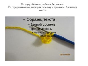 По кругу обвязать столбиком без накида. Из середины колечка вытащить петель