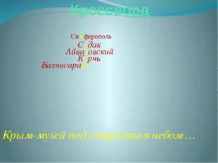 Кроссворд Симферополь Судак Айвазовский Керчь Бахчисарай Крым-музей под откры