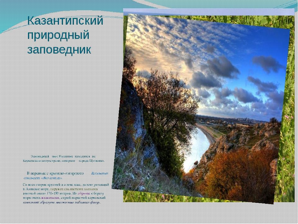 Казантипский природный заповедник Заповедный мыс Казантип находится на Керчен...