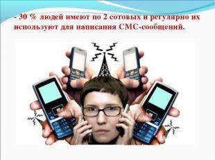 - 30 % людей имеют по 2 сотовых и регулярно их используют для написания СМС-