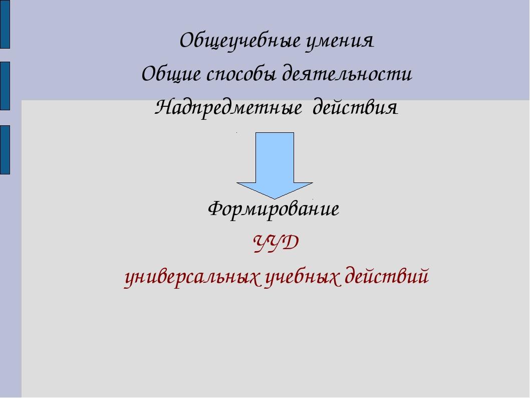 Общеучебные умения Общие способы деятельности Надпредметные действия Формиров...