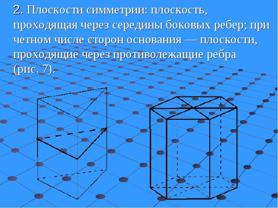 2.Плоскости симметрии: плоскость, проходящая через середины боковых ребер;...