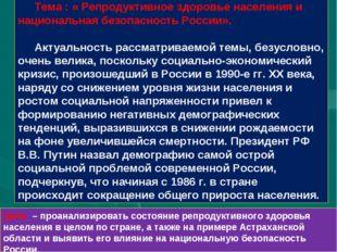 Тема : « Репродуктивное здоровье населения и национальная безопасность России