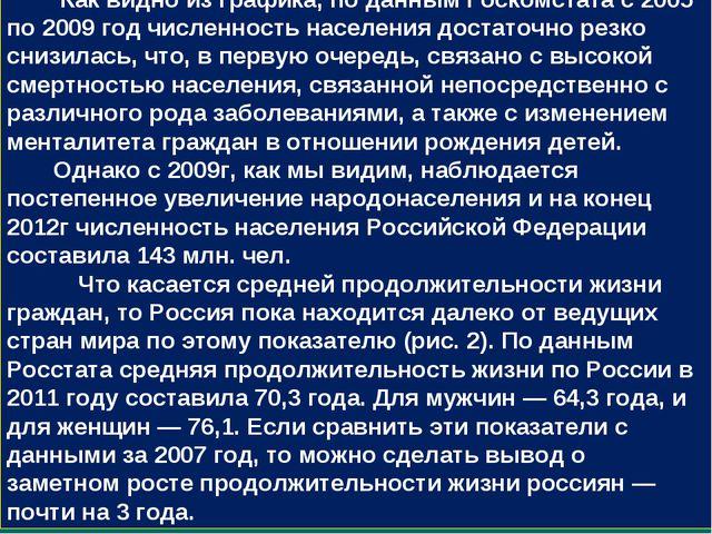 Как видно из графика, по данным Госкомстата с 2005 по 2009 год численность н...
