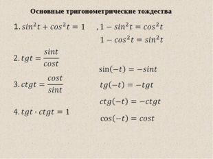 1. Основные тригонометрические тождества