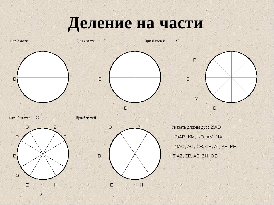 1)на 2 части 2)на 4 части С 3)на 8 частей С R K В А В А В A AА M N D D 4)на...