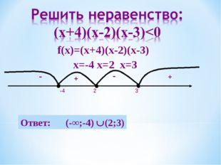 + - - + 2 3 -4 Ответ: (-∞;-4) (2;3) f(х)=(х+4)(х-2)(х-3) х=-4 х=2 х=3
