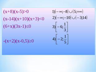 (х+8)(х-5)>0 (х-14)(х+10)(х+3)