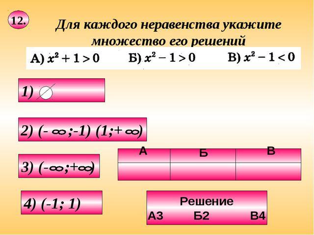 12. 4) (-1; 1) Решение А3 Б2 В4