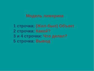 Модель лимерика 1 строчка: (Жил-был) Объект 2 строчка: Какой? 3 и 4 строчки:
