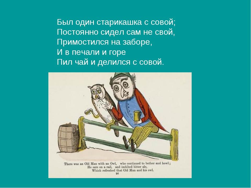Был один старикашка с совой; Постоянно сидел сам не свой, Примостился на забо...