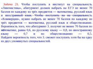 Задача 21. Чтобы поступить в институт на специальность «Лингвистика», абитур