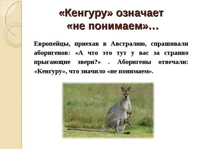 «Кенгуру» означает «не понимаем»… Европейцы, приехав в Австралию, спрашивали...