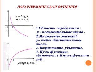 ЛОГАРИФМИЧЕСКАЯ ФУНКЦИЯ y=loga x, a>1. 1.Область определения : х – положитель