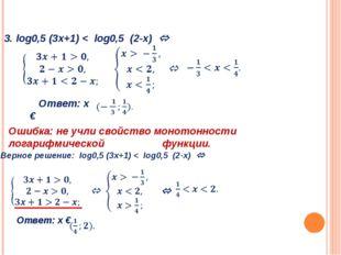 3. log0,5 (3х+1) < log0,5 (2-х)  Ответ: х € Ошибка: не учли свойство моното