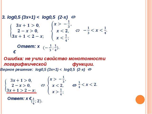 3. log0,5 (3х+1) < log0,5 (2-х)  Ответ: х € Ошибка: не учли свойство моното...