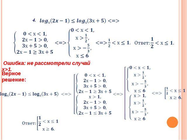 Верное решение: Ошибка: не рассмотрели случай х>1. 4.