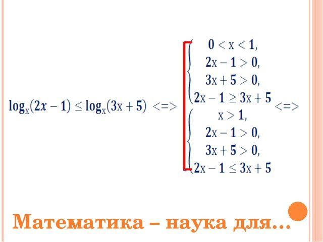 Математика – наука для…