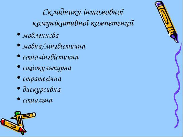 Складники іншомовної комунікативної компетенції мовленнєва мовна/лінгвістична...